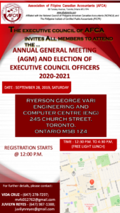 AGM & Election of Executive Council Officers 2020-2021